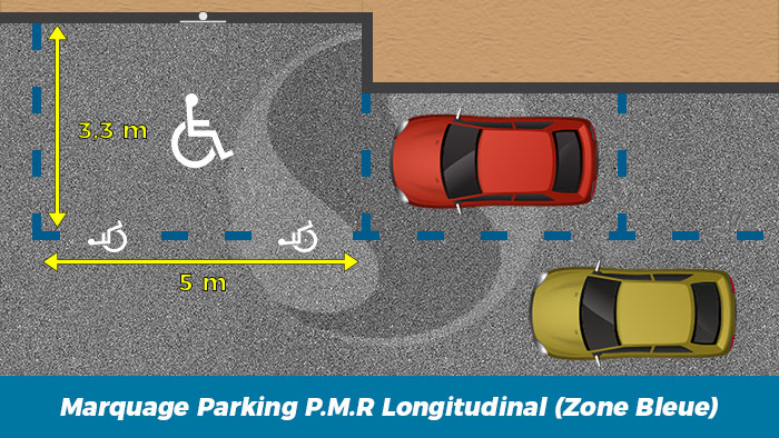Norme Marquage sol Parking Longitudinal PMR zone bleue